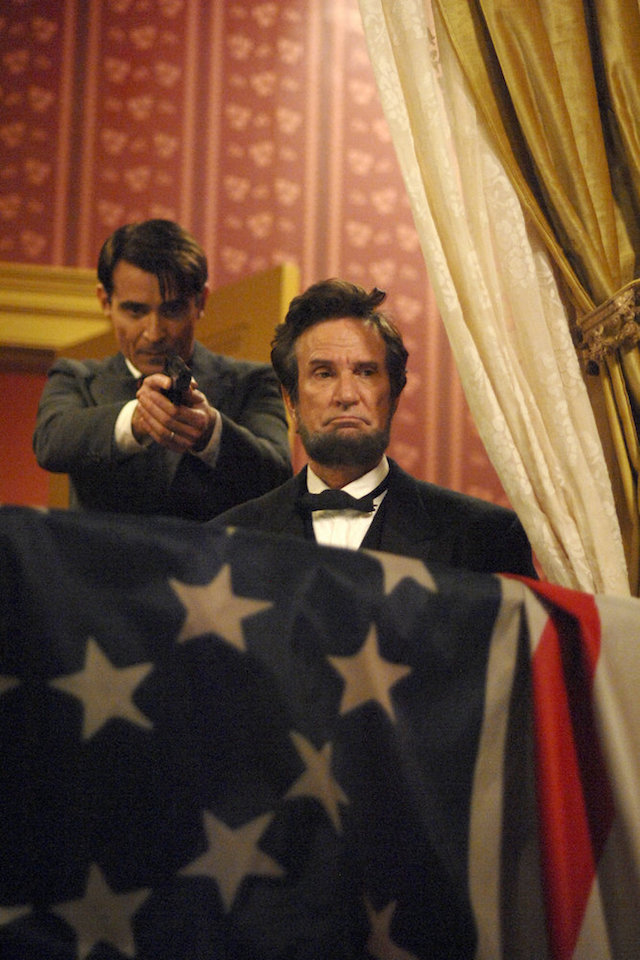 "TIMELESS -- ""The Assassination of Abraham                     Lincoln"" Pictured: (l-r) Goran Visnjic as                     Garcia Flynn, Michael Krebs as Abraham Lincoln --                     (Photo by: Sergei Bachlakov/NBC)"