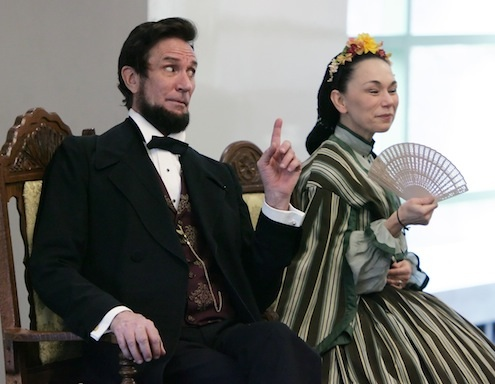 Actors Michael Krebs and                     Debra Ann Miller present Abraham Lincoln and Mary                     Todd Lincoln