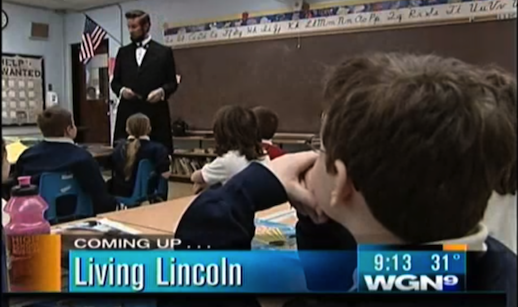 Actors Michael Krebs and Debra Ann Miller                     present Abraham Lincoln and Mary Todd Lincoln in                     education assembly program